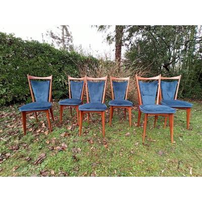 Suite De 6 Chaises De Style Scandinave Vers 1950