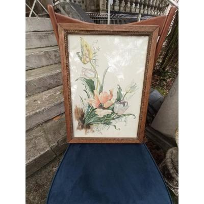 Aquarelle De Fleurs époque Art Nouveau