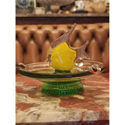 Murano Blown Glass Ashtray And Decorated With A Scalar
