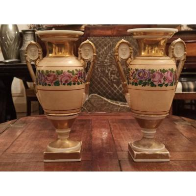 Pair Of Porcelain Vases From Paris Around 1840