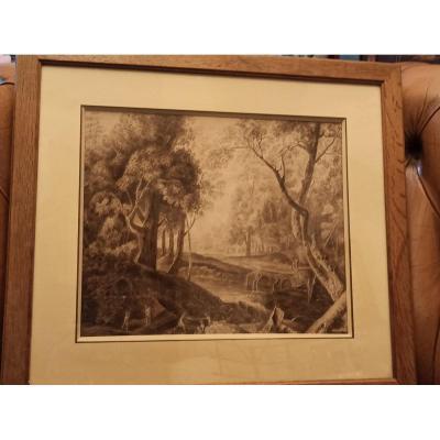 Lavis D Encre Brune De L époque Romantique Circa 1830