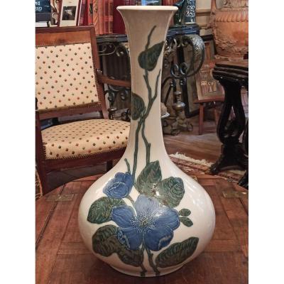 Grand Vase En Porcelaine à Decor Peint De Fleurs Signé Lladro