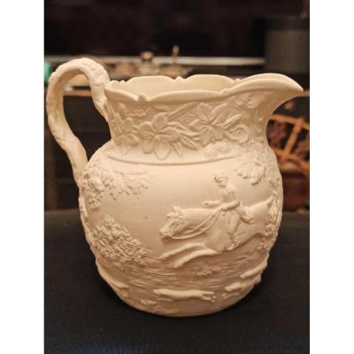 Pot à Lait En Jaspe Blanc à décor  de scène de chasse De Minton And Boyle Vers 1836