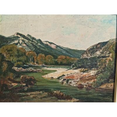Huile Sur Carton Représentant Une Vallée Pyrénéenne Par Emile Godchaux Fin XIXÈme
