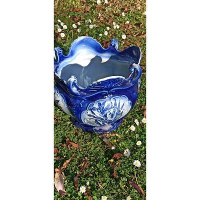 Important Cache Pot En Faience Anglaise époque Victorienne Par Wwr And Co Staforshire England