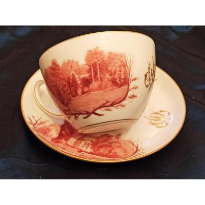 Très Beau Dejeuner En Porcelaine De Paris à Décor Peint D Une Propriété. Vers 1850