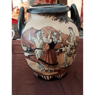 Beau Vase En grès De Ciboure Signé Garcia De Diego