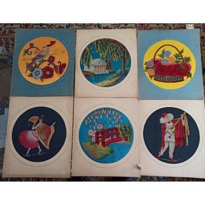 Suite De 6 Peintures Sur Soie Indochinoises D époque Art Déco.