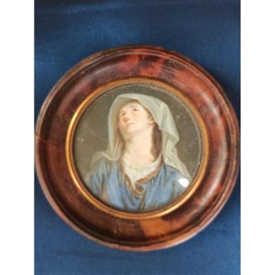 Miniature Peinte D Un Portrait De Dame Pieuse En Extase époque Debut Du XIXe