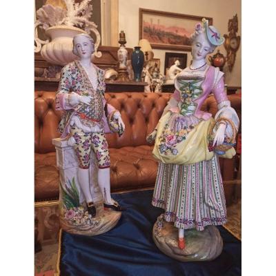 Paire De Sculptures En Porcelaine De Meissen D époque XVIIIe