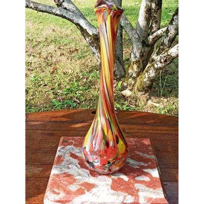 Vase Soliflore En Verre émaillé Soufflé Bouche Murano Circa1960