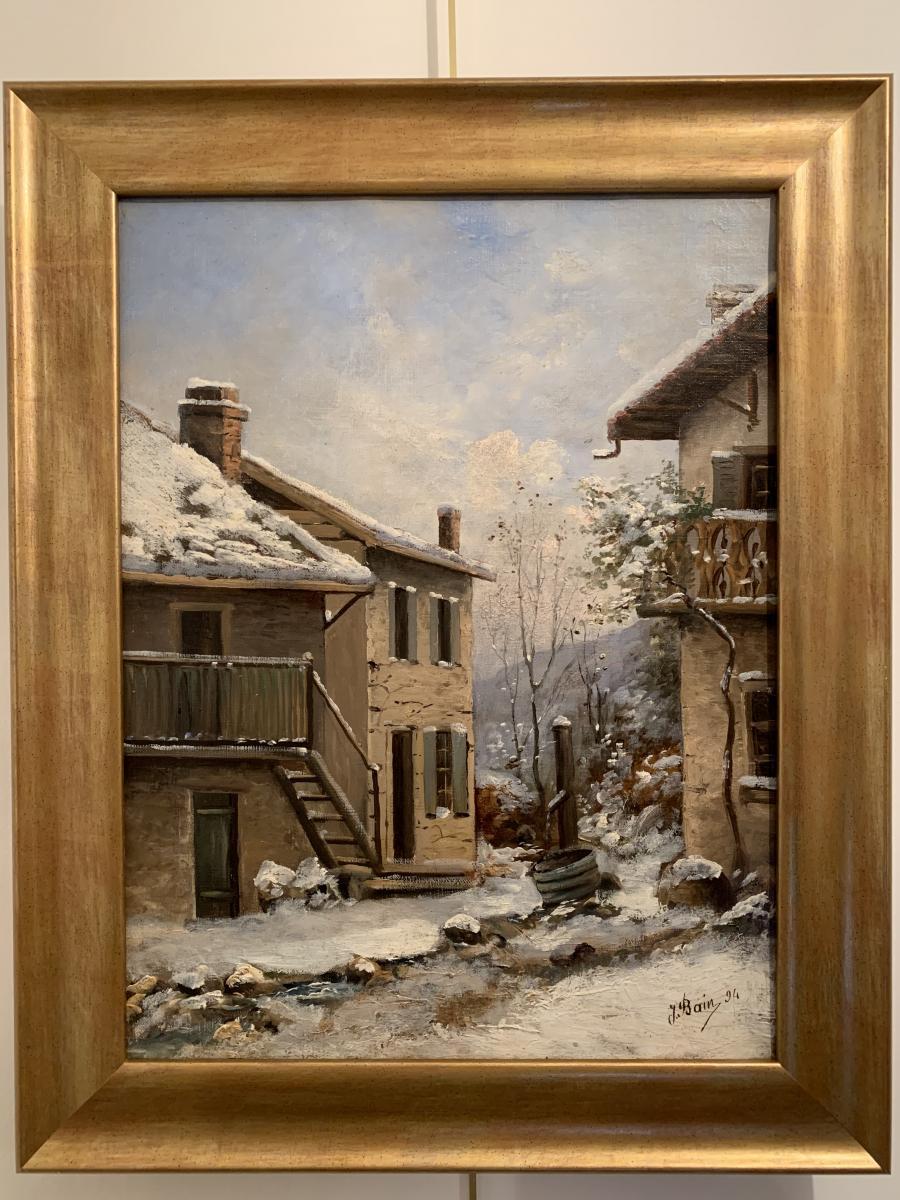La Fontaine Du Village Sous La Neige- Jean Bain (1860-1908)