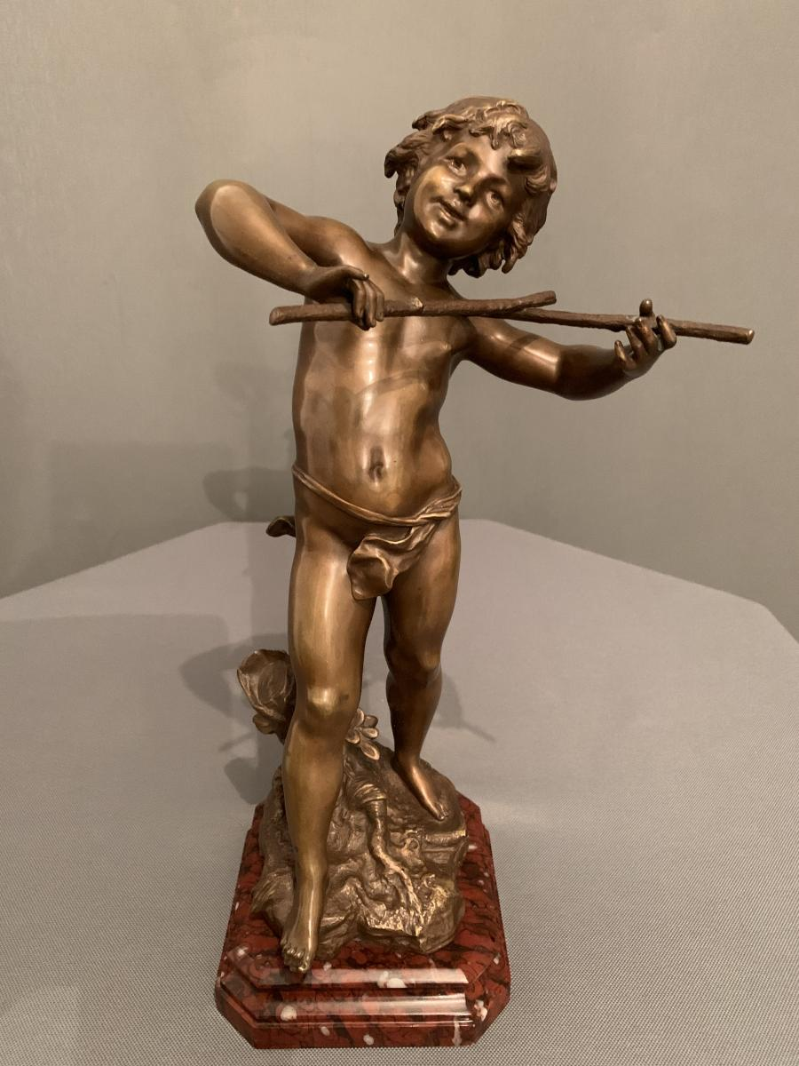 """future Musician"" - Bronze By Louis-auguste Moreau (1855-1919)"