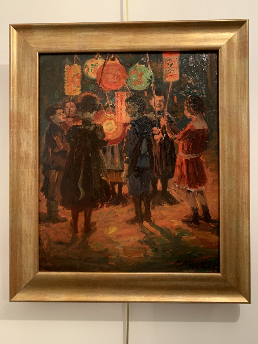"""Oil on strong cardboard, """"the lantern festival in Stuttgart"""" in the years 1920-1930 signed P.Kapell below right. Titled and located on the back, also carries a Stuttgart label. Dimensions: With the frame: height 53.7cm, width 45.8cm. Without the frame: height 43.2cm, width 35.7cm. Paul Kapell (1876 Ostrowo / Poznan - 1943 Stuttgart) studied at the Academy of Fine Arts in Nuremberg with Erhard Jourdan (1868-1908) and Johann Karl Kehr (1866-1919) Member of the German general collective of artists. Subsequently, he became a well-known South German impressionist, who regularly participated in various exhibitions. Worked in Stuttgart."""