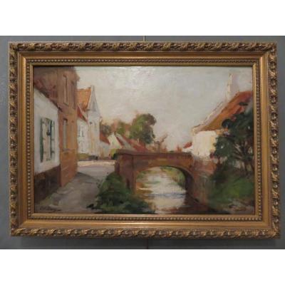 Huile S/panneau Par Paul Michel Dupuy  (1869-1949) « Le Pont Du Village »