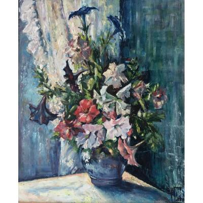 Huile Sur Toile « Bouquet De Fleurs »