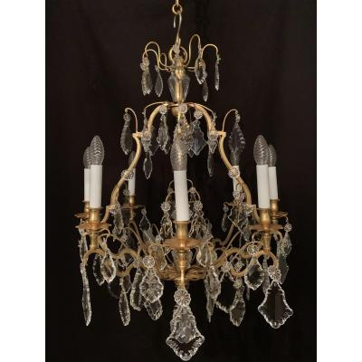Cage Shaped Chandelier Bronze And Crystal