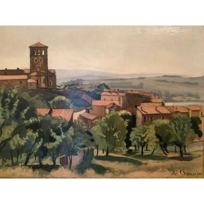 Eglise et village de Ternay dans le Rhône - René Chancrin (1911-1981)