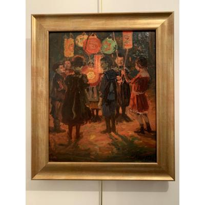 "Oil on strong cardboard, ""the lantern festival in Stuttgart"" in the years 1920-1930 signed P.Kapell below right. Titled and located on the back, also carries a Stuttgart label. Dimensions: With the frame: height 53.7cm, width 45.8cm. Without the frame: height 43.2cm, width 35.7cm. Paul Kapell (1876 Ostrowo / Poznan - 1943 Stuttgart) studied at the Academy of Fine Arts in Nuremberg with Erhard Jourdan (1868-1908) and Johann Karl Kehr (1866-1919) Member of the German general collective of artists. Subsequently, he became a well-known South German impressionist, who regularly participated in various exhibitions. Worked in Stuttgart."