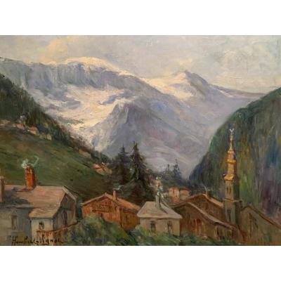 Paysage de Montagne.  Le Village de Saint-Gervais - Mont Blanc. Humbert-Vignot (1878-1960)