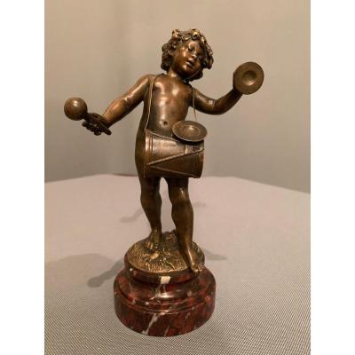 """Bronze D'auguste Moreau (1834-1917)  """"L'enfant Musicien""""."""
