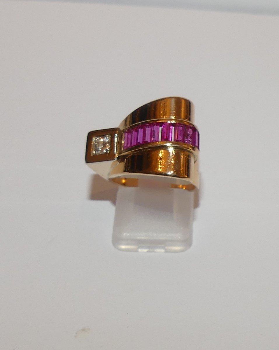 Gold And Diamond Tank Ring