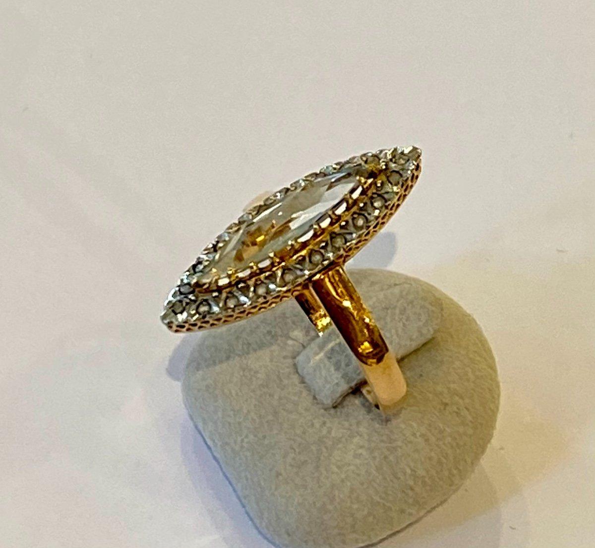 Ancienne Bague Marquise En Or, Quartz Et Diamants Taille En Rose-photo-2