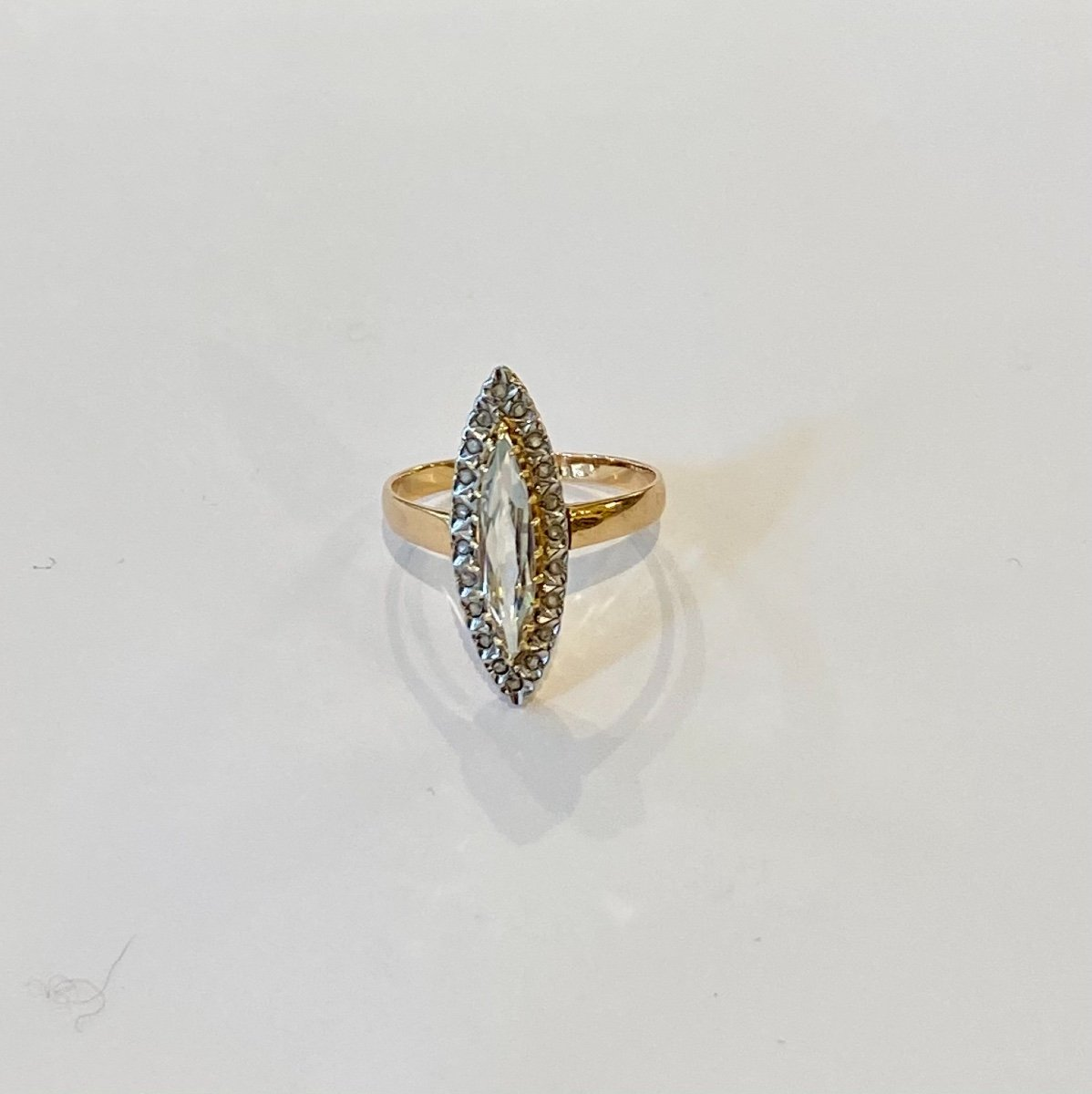 Ancienne Bague Marquise En Or, Quartz Et Diamants Taille En Rose-photo-3