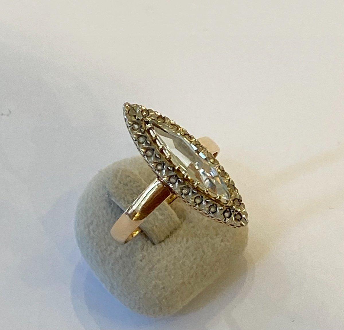 Ancienne Bague Marquise En Or, Quartz Et Diamants Taille En Rose-photo-4