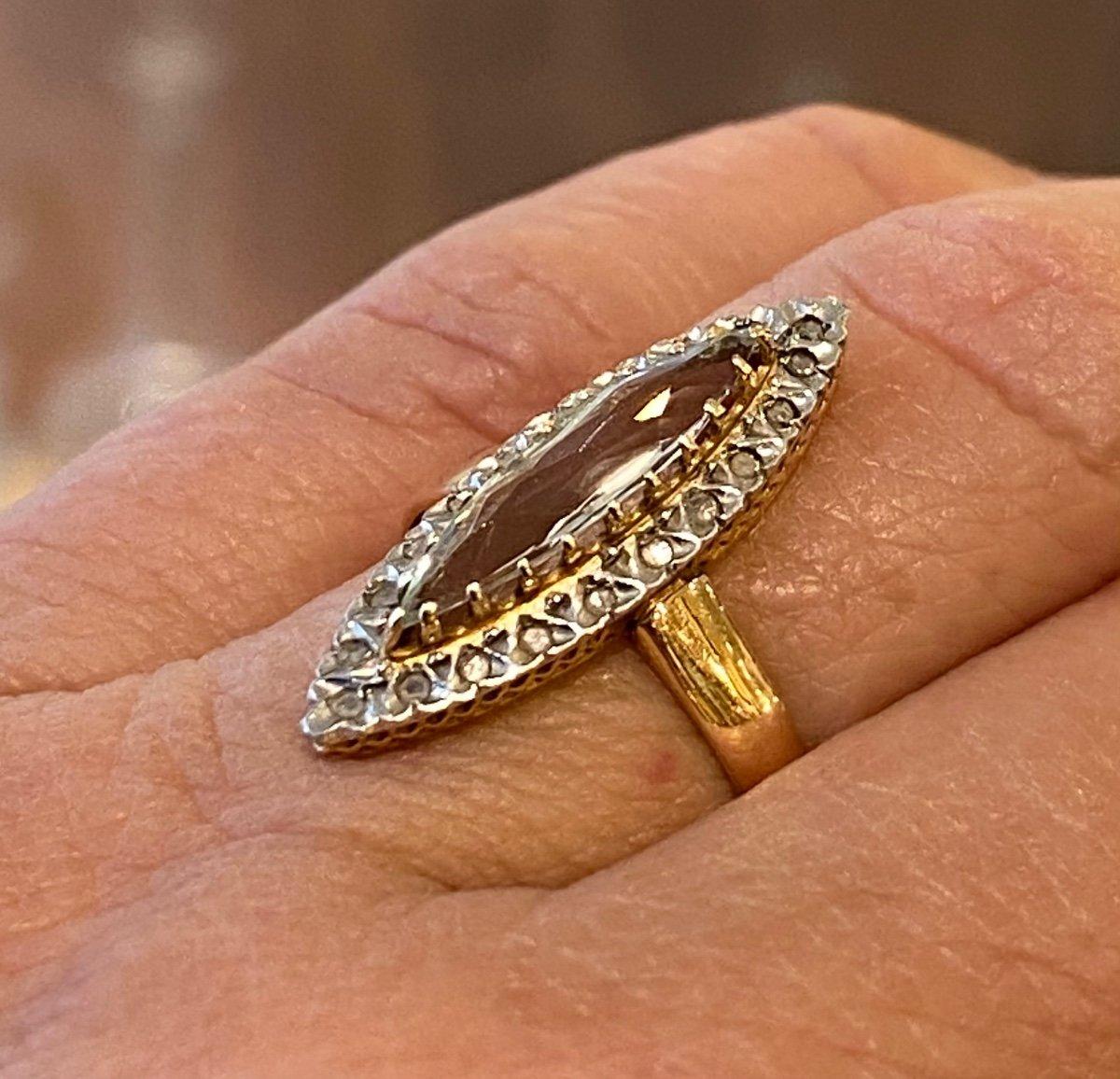 Ancienne Bague Marquise En Or, Quartz Et Diamants Taille En Rose-photo-5