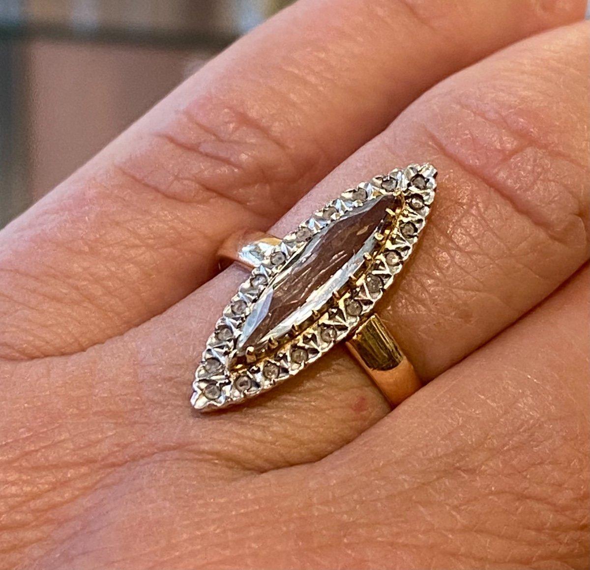 Ancienne Bague Marquise En Or, Quartz Et Diamants Taille En Rose-photo-6