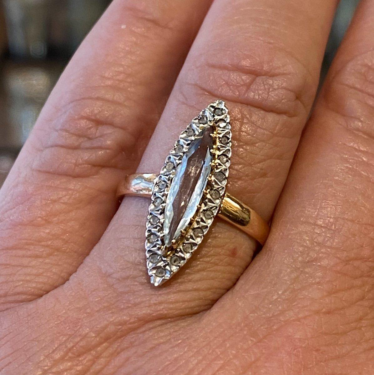 Ancienne Bague Marquise En Or, Quartz Et Diamants Taille En Rose-photo-7