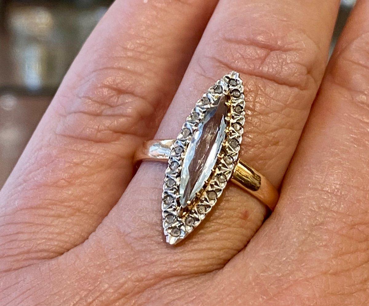 Ancienne Bague Marquise En Or, Quartz Et Diamants Taille En Rose-photo-8