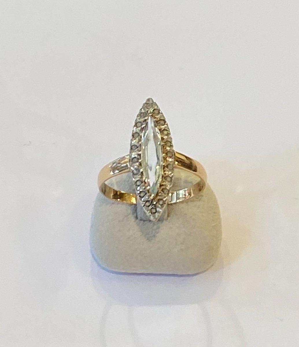 Ancienne Bague Marquise En Or, Quartz Et Diamants Taille En Rose-photo-1