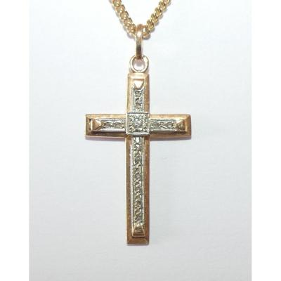 Art Deco Style Cross In Gold And Diamonds