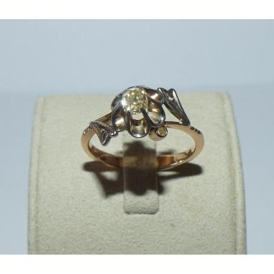 Old Russian Solitaire Ring In Gold And Diamond. Soviet