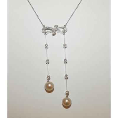 Old Neglige Necklace In Gold Suppose Fine Pearls And Diamonds