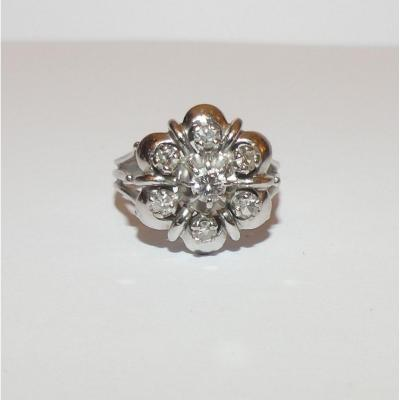 Old White Gold And Diamonds Ring
