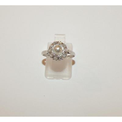 Ancienne Bague Or, Perle Suppose Fine Et Diamants