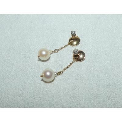 Paire De Pendants d'Oreilles Or, Perles Et Diamants