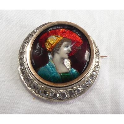 "Broche Ancienne ""LUNE"" Or, Diamants  Et Miniature En Porcelaine De Limoges"