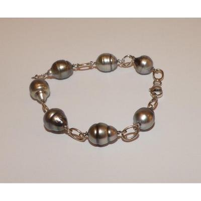 Gold And Tahitian Pearls Bracelet