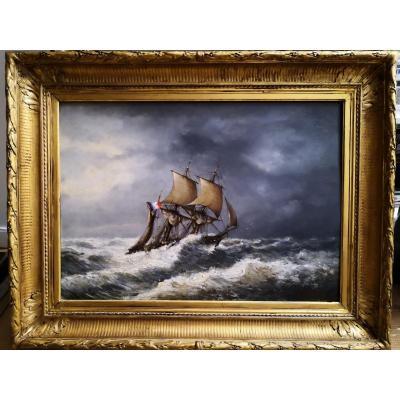 Voilier Luttant Contre Une Mer Déchaînée / 1876 / Huile Sur Panneau