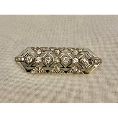 Ancien Broche Style Art Deco En Or, Platine Et Diamants