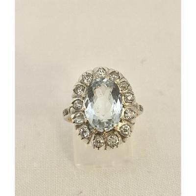 Ancienne Bague Argent, Aigue Marine Et Diamants
