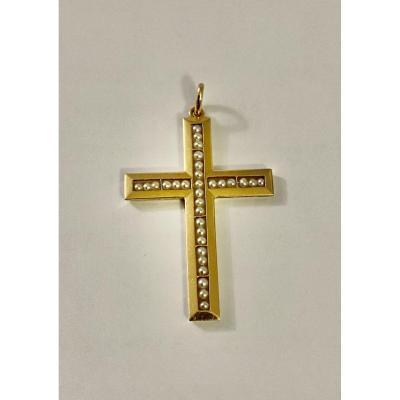 Ancienne Croix Or Et Perles