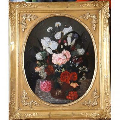 Vase De Fleurs Sur Entablement / École Française Fin XIX / Huile Sur Toile