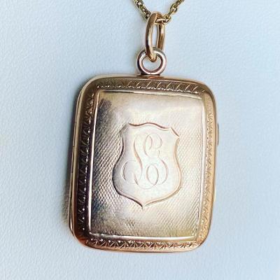 Ancien Pendentif Porte Souvenir Or. XIX siecle