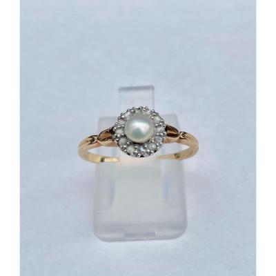 Ancienne Bague Or, Perle Et Diamants