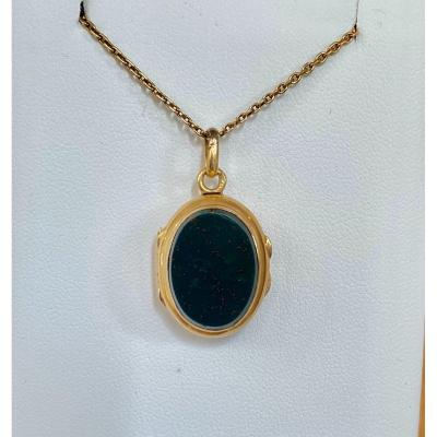 Old Souvenir Holder Pendant In Gold And Blood Jasper